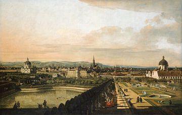 Bernardo Bellotto of Canaletto, Wenen gezien van het paleis Belvedere - 1760 van Atelier Liesjes