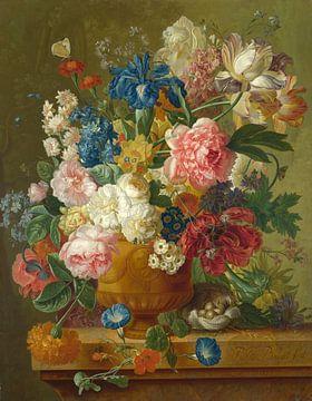 Bloemen in een vaas, Paulus Theodorus van Brussel van