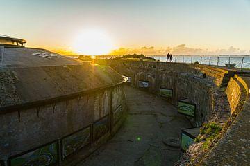 Sonnenuntergang vom Fort Island Pampus aus gesehen. von Margreet van Beusichem