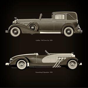 Cadillac V16 Town Car 1933 und Duesenberg SJ Speedster 1933