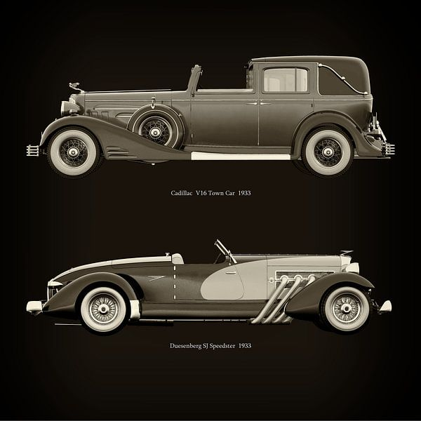Cadillac V16 Town Car 1933 et Duesenberg SJ Speedster 1933 sur Jan Keteleer