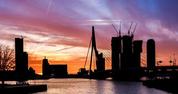 Silhouet Skyline Rotterdam van Prachtig Rotterdam