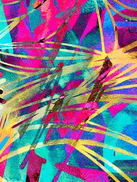 Modern, Abstract Digitaal Kunstwerk in Roze, Geel, Blauw van Art By Dominic