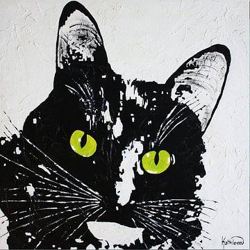 Zwarte Kat van Kathleen Artist Fine Art