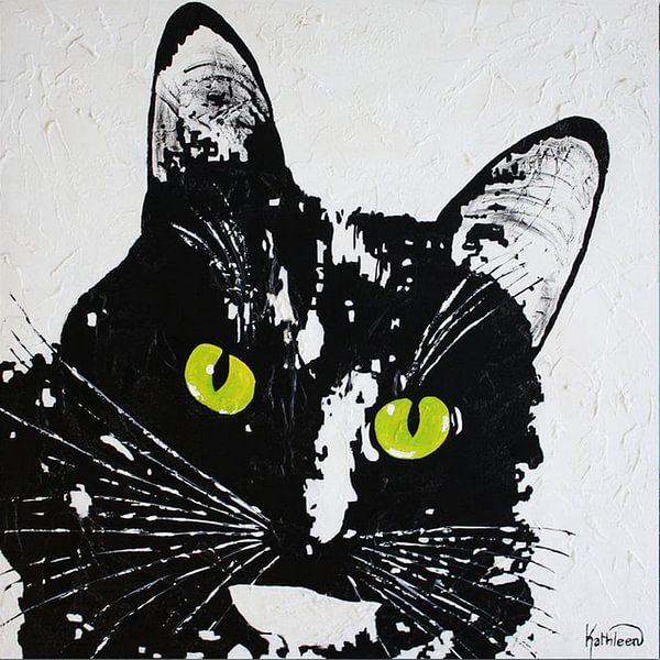 Schwarze Katze von Kathleen Artist Fine Art