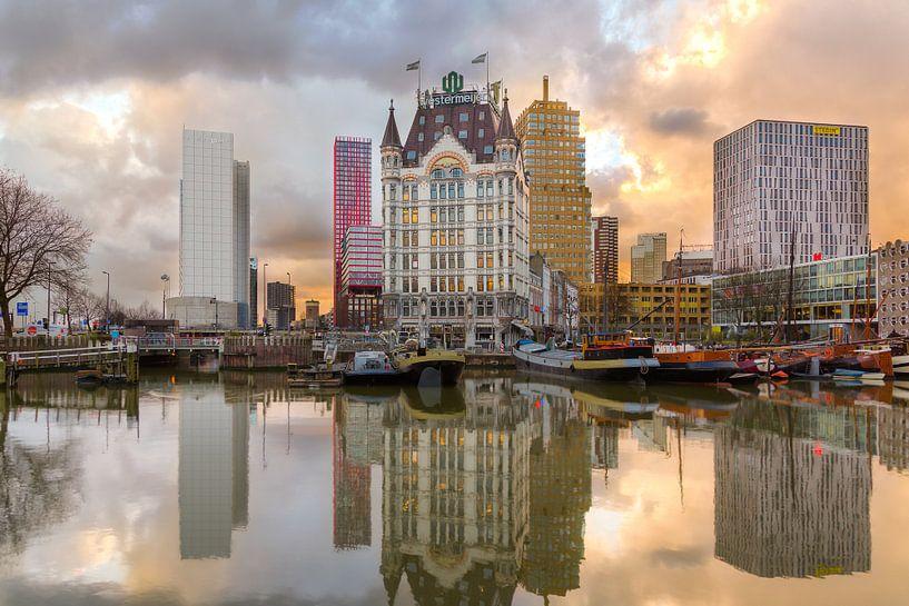 Witte huis met zonsondergang van Prachtig Rotterdam