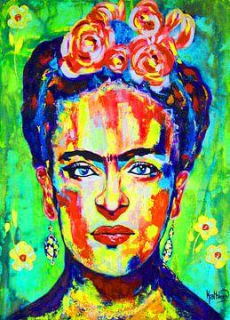 Frida Kahlo - Gelb Grün von Kathleen Artist Fine Art