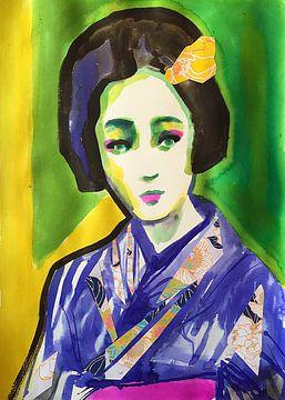 Grünäugige Geisha von Helia Tayebi Art