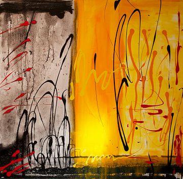 Linienkomposition gelb schwarz von Klaus Heidecker
