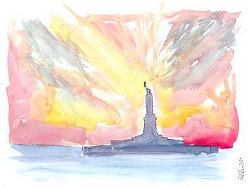 Freiheitsstatue bei Sonnenuntergang von Markus Bleichner