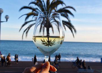 Palmier à réflexion dans un verre à vin sur Anne Travel Foodie