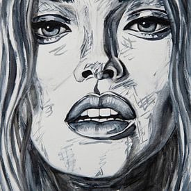 Close up Porträt Frau in schwarz und weiß von Bianca ter Riet