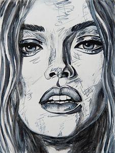 Close up Porträt Frau in schwarz und weiß