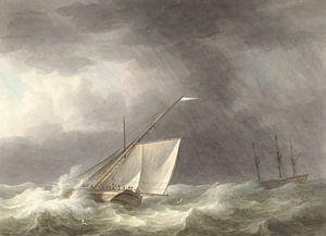 Zwei Segelschiffe auf stürmischer See, Martinus Schouman