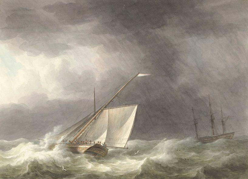 Zwei Segelschiffe auf stürmischer See, Martinus Schouman von Meesterlijcke Meesters