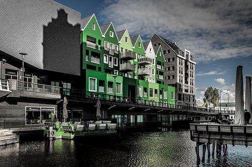 Groene huizen in Zaandam sur