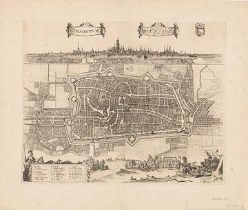 Plattegrond van de stad Utrecht met stadsgezicht, Johannes Jacobsz van den Aveele, ca. 1700 - ca. 17