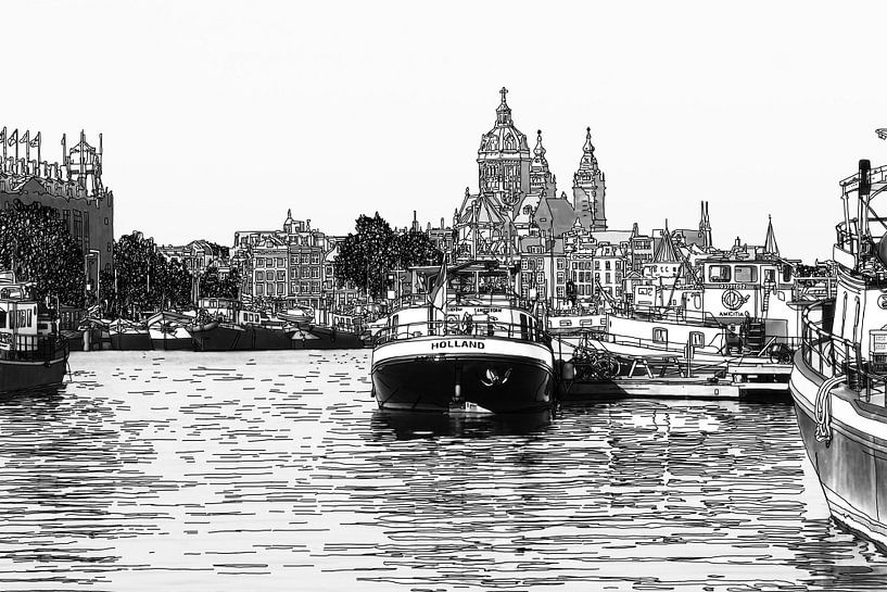 Pentekening Oosterdok Amsterdam Nederland Tekening Lijntekening Zwart-Wit van Hendrik-Jan Kornelis