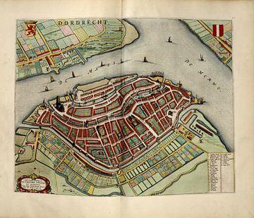 Dordrecht of Dordt, Stadsplattegrond Joan Blaeu 1652 van Atelier Liesjes