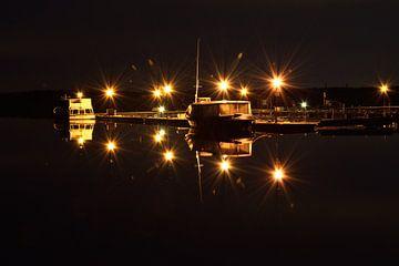 Cospudener See Hafen bei Nacht - Leipzig von Marcel Ethner