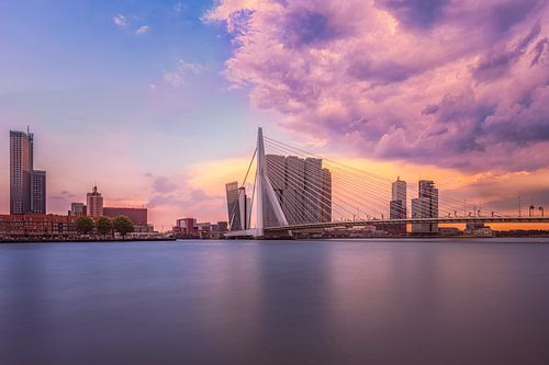 Rotterdam met zicht op de Erasmusbrug na een onweersbui