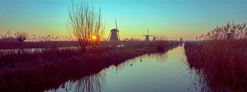Kinderdijk molens zonsopgang panorama van Angel Flores