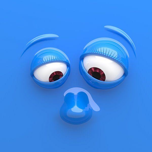 Grappig gezicht blauw van Jörg Hausmann