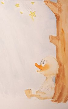 Rubbeldiduck kinderen foto eend aquarel schilderij van Beate Gube