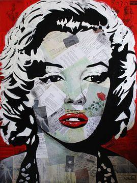 """Marilyn MONROE """"Red Flower"""" van Kathleen Artist van Kathleen Artist Fine Art"""