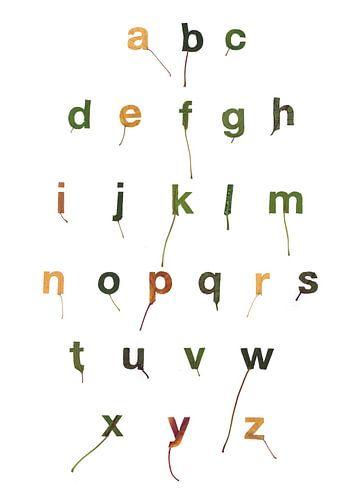 Bladletters binnenvorm alfabet van