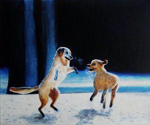 Honden in de sneeuw. van