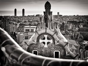 Photographie en noir et blanc : Barcelona Skyline / Park Güell