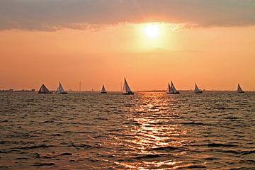 Zeilen op het IJsselmeer met zonsondergang van Nisangha Masselink