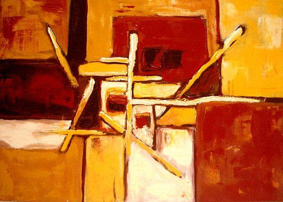 Abstract geel en bruin van Lorette Kos
