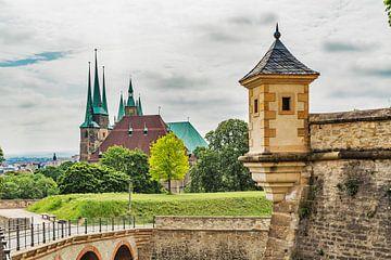 Vue de Petersberg Petersberg sur la cathédrale d'Erfurt sur Gunter Kirsch
