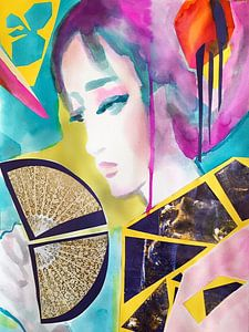 Geisha mit Spitzenfächer von Helia Tayebi Art
