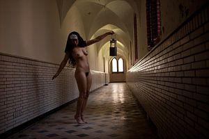 Artistiek naakt in een kloostergang