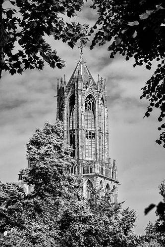 De Domtoren van Utrecht in zwart-wit (2) van