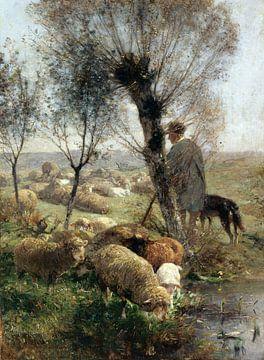Schäfer mit Hund und Herde unter Weidenbäumen am Wasser, HEINRICH VON ZÜGEL, Wohl 1890 von Atelier Liesjes