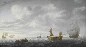 Nederlandse Vissersbootjes die hun netten afschieten, Simon de Vlieger