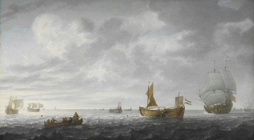 Nederlandse Vissersbootjes die hun netten afschieten, Simon de Vlieger van Meesterlijcke Meesters