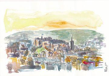 Edinburgh Schottland Stadtblick im Dunst von Markus Bleichner