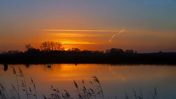 Zonsondergang met zwaan Onlanden Drenthe Nederland van R Smallenbroek