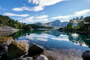 Weerspiegeling in een meer in Noorwegen van Ellis Peeters