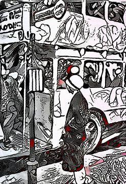 Frau an Bushaltestelle von zam art