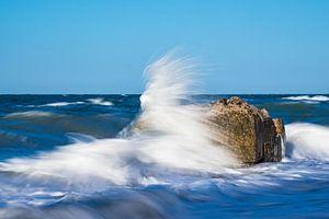 Bunker ruin on shore of the Baltic Sea