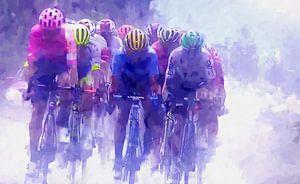 kopgroep wielrenners in de Tour de France van Paul Nieuwendijk