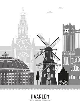 Skyline illustratie stad Haarlem zwart-wit-grijs van Mevrouw Emmer