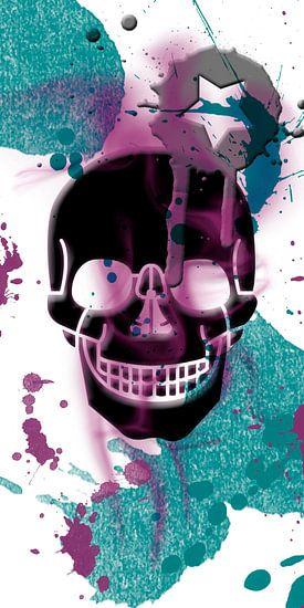 Digital-Art Skull and Splashes | Panoramic