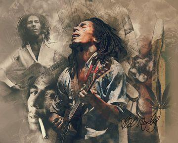 Bob Marley Vintage-Portrait-Reggae von Bert Hooijer